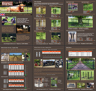 Designer Metal full colour brochure for estate fencing products, tree guards and field gates.