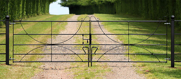 metal hooped double opening gates with 80x80 mm box section posts capped with forged balls.