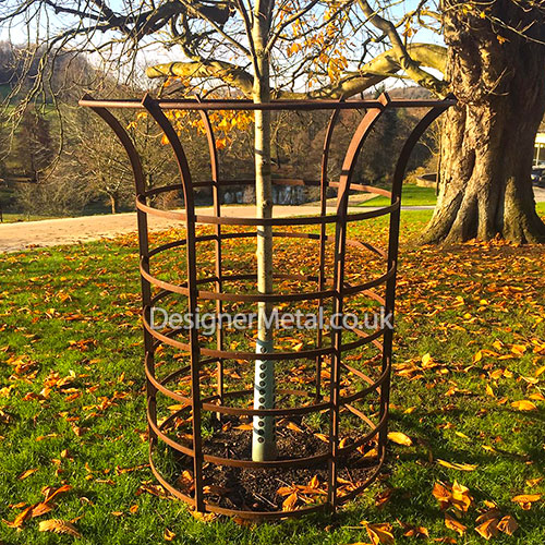 Park metal tree guard in natural rust finish.