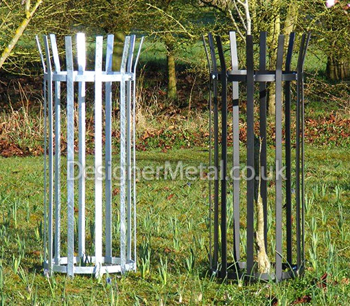 Quarter sized metal tree guard.