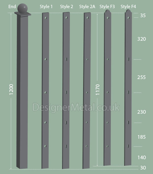 1.2m Metal Fence Posts for wall mounting or fabrication.