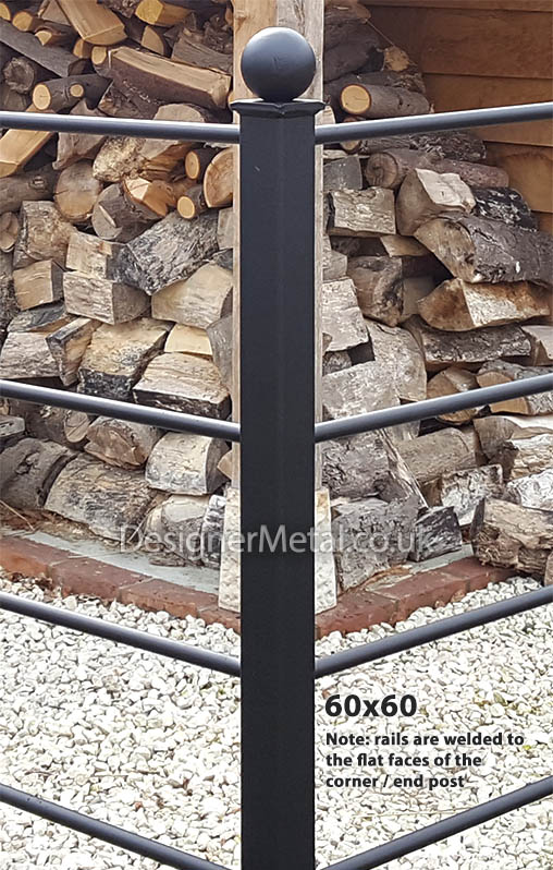Square section posts for corners and ends of fencing runs.