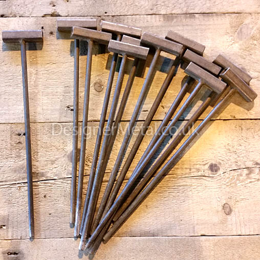 Steel pins for pegging out a line of fencing.