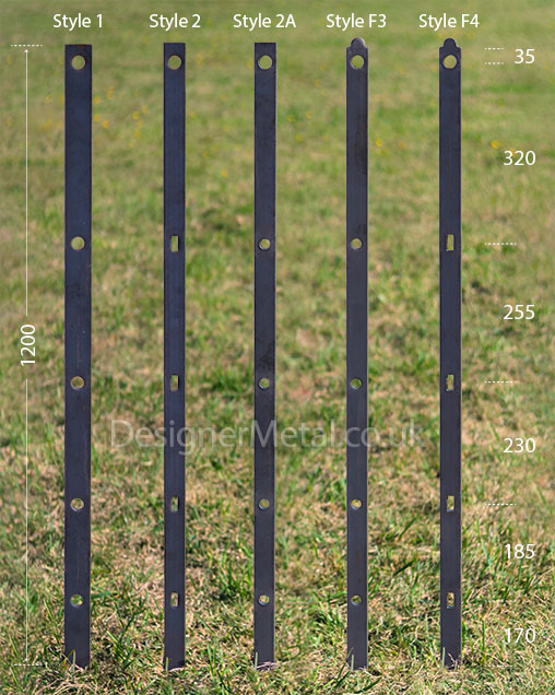 5 rail estate fencing posts in 5 different styles