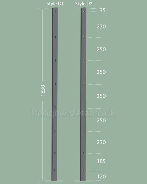 Deer fence posts in two styles