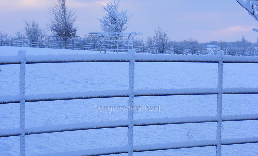 Fencing shown in the snow