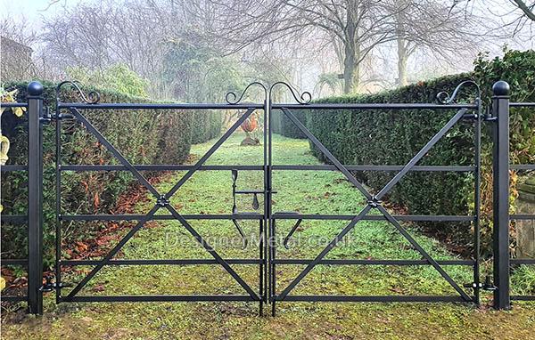 Metal field gates for estate fencing