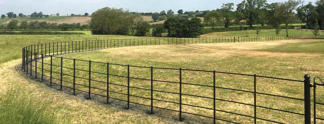 Estate fencing installation in a large park