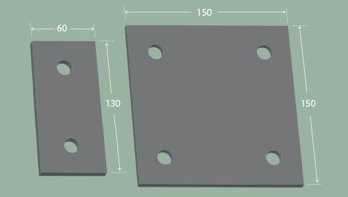 wall mounted fence base plates