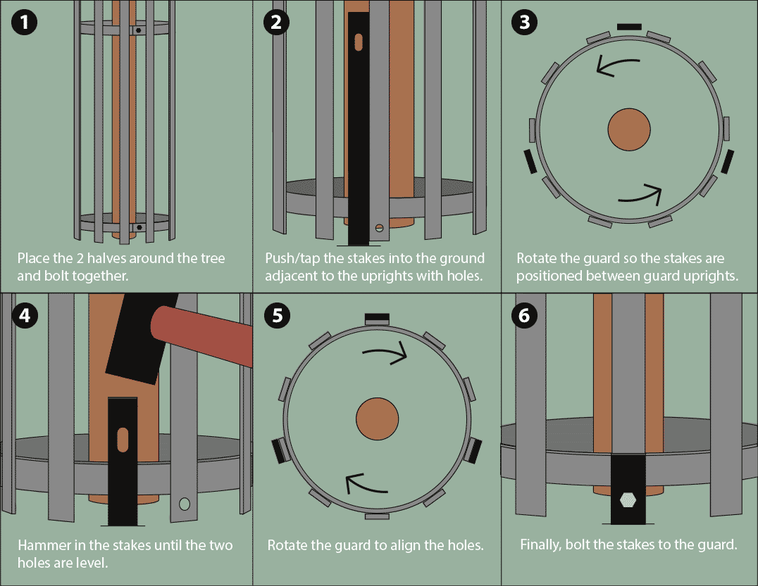 Tree guard fitting guide